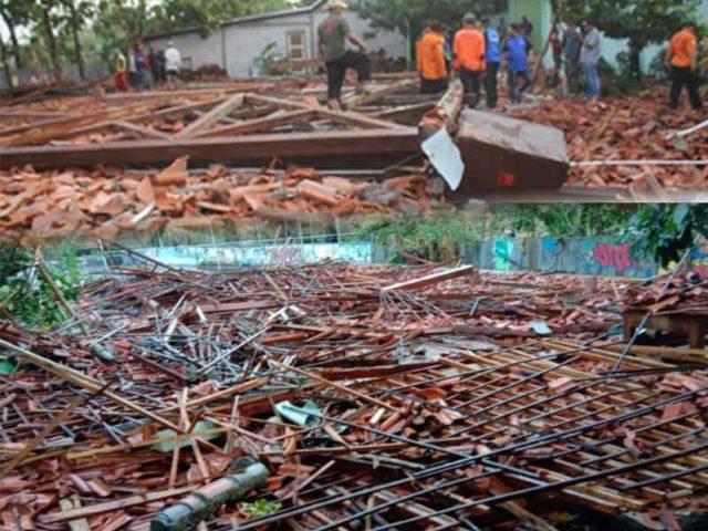 Angin Puting Beliung Robohkan Aula SMKN I Miri, 14 Siswa Luka